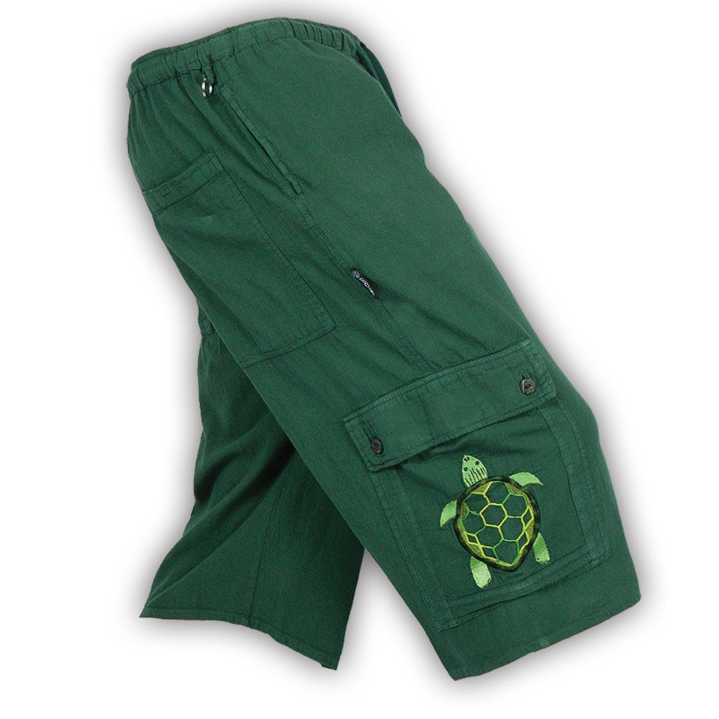 Garment Dyed Cargo Shorts with Terrapin Embroidery Forest Green