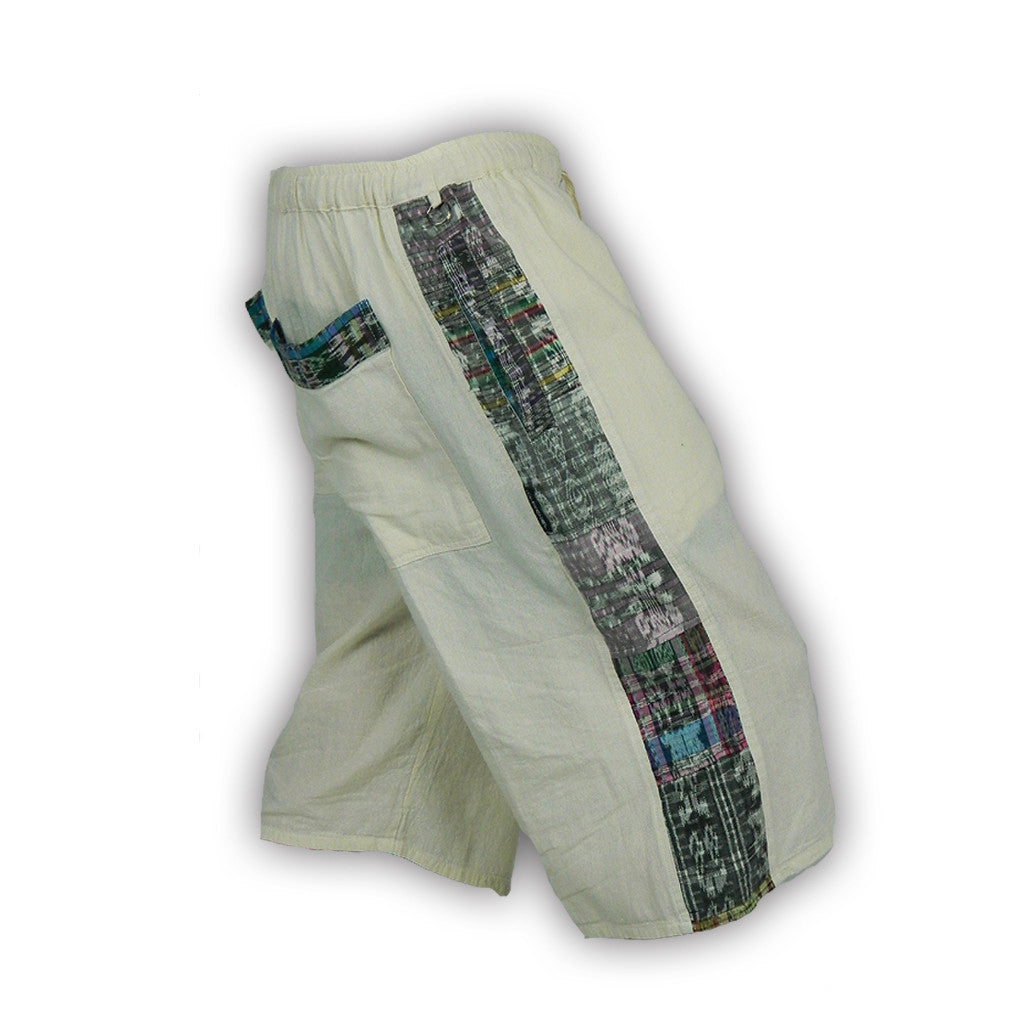 Garment-Dyed Patchwork Shorts with Hand-Woven Accents Natural