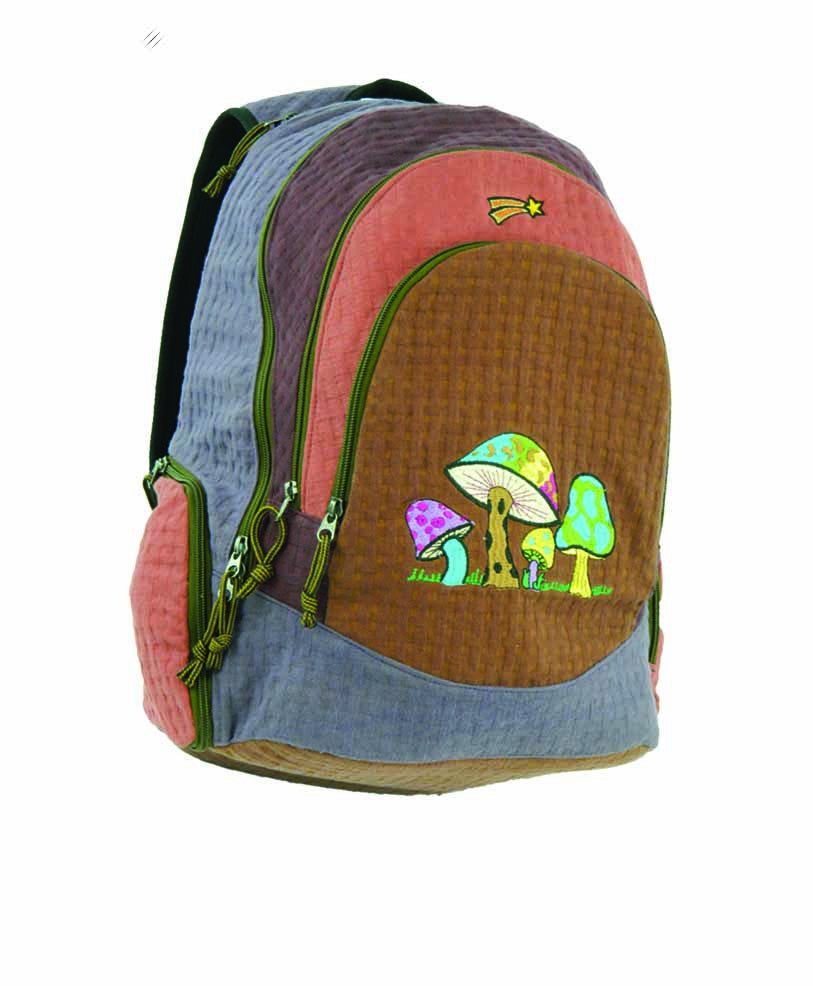 Super Daypack in  weave cotton with mushroom embroidery