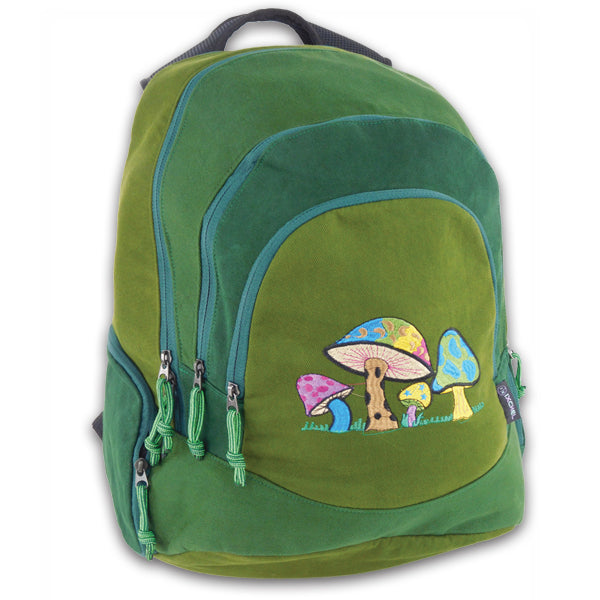 Super Daypack in heavyweight cotton denim with mushroom embroidery