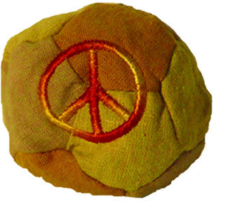 Patchwork Hemp Cotton Footbag with Peace Sign Embroidery