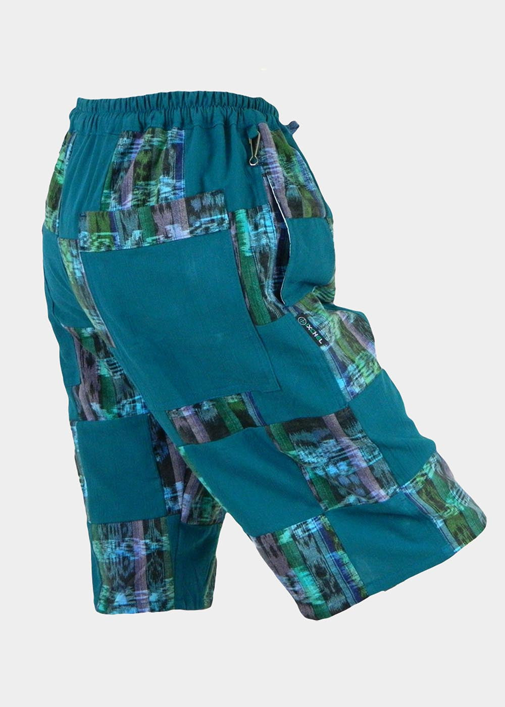 Patchwork Shorts in cotton summer cloth and hand woven ikat
