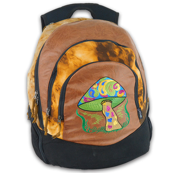 Super Daypack in Tie Dye and Faux Leather trim with Mushroom Embroidery