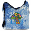 Shoulder bag in tie dye denim with Mushroom Embroidery
