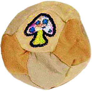 Patchwork Hemp Cotton Footbag with Mushroom Embroidery