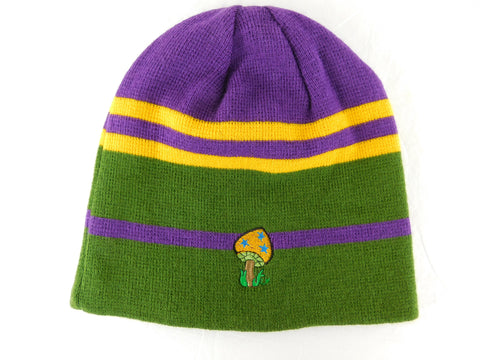 Knit Cap in Mardi Gras Colors with Mushroom Embroidery