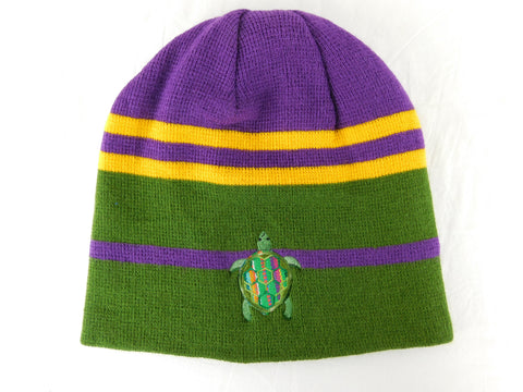 Knit cap in Mardi Gras colors with Terrapin embroidery