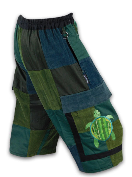 Patchwork Cargo Shorts with Terrapin Embroidery