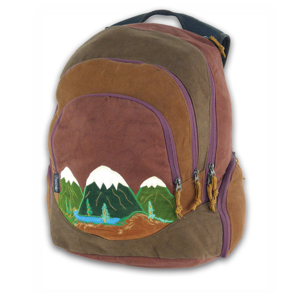 Super Daypack in  heavyweight cotton denim with Mountain appliqueSuper