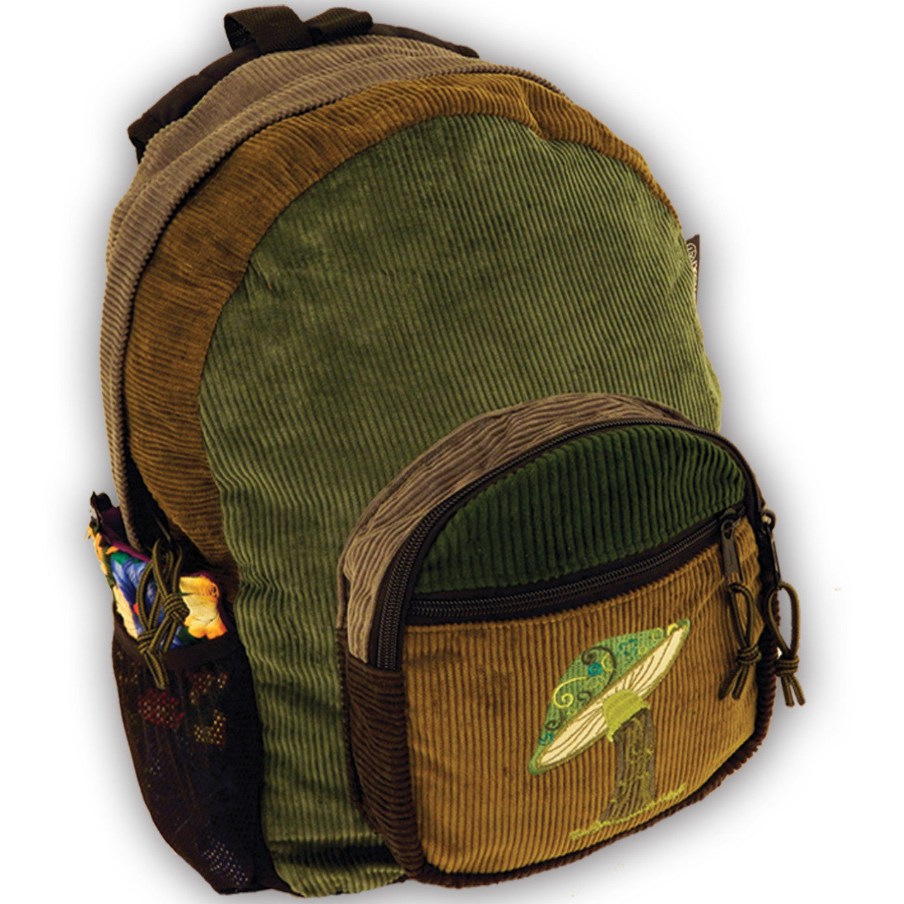 Corduroy patch backpack mushroom embroidery medum green