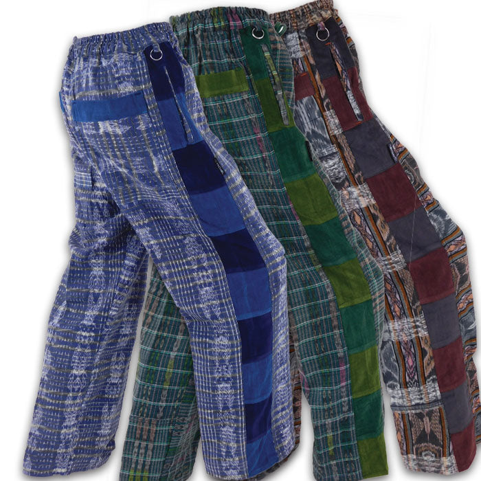 Hand Woven Pants with Patchwork Corduroy