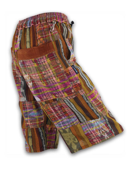 Patchwork Shorts in all hand woven cotton
