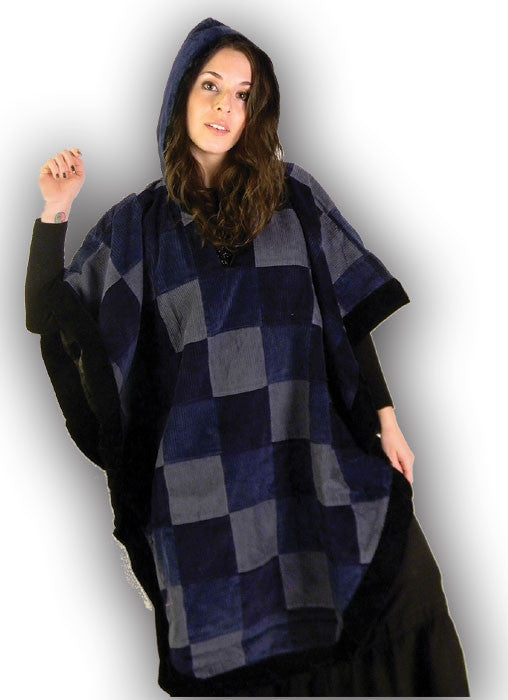 Hooded Patchwork Poncho