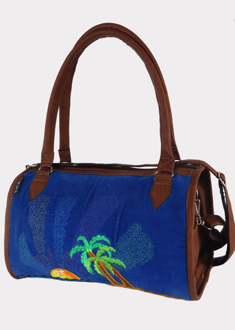Tropical Paradise Doctor's bag in Faux Leather and Corduro