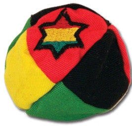 8 panel Rasta color footbag with Rasta Star embroidery