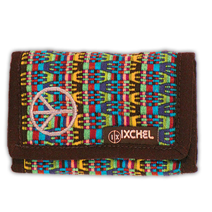 Brocaded 3-Fold Wallet with Peace Sign Embroidery