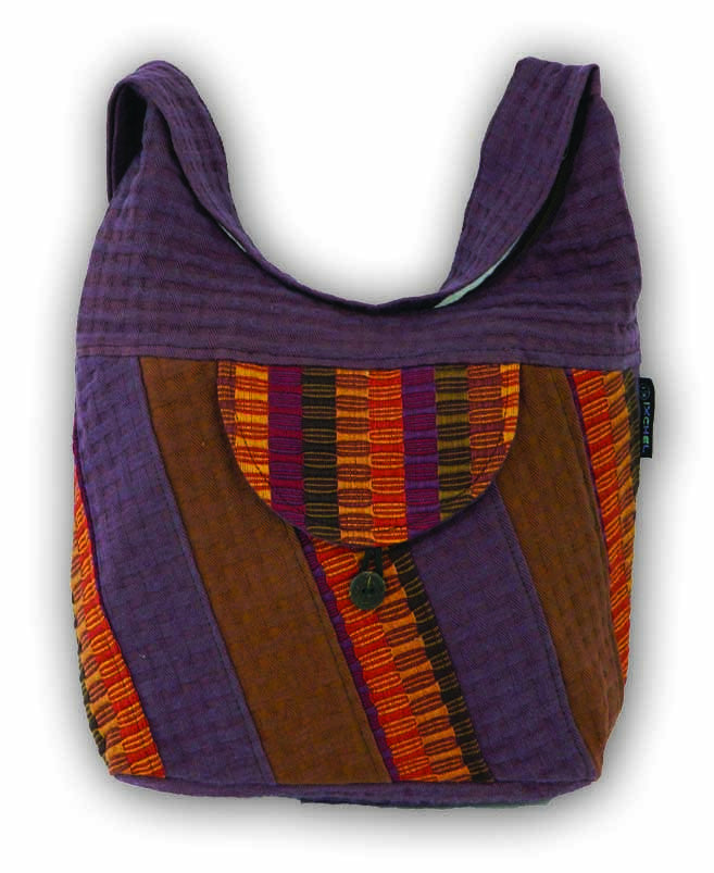 Mini Saddle bag in basket weave cotton and native brocade