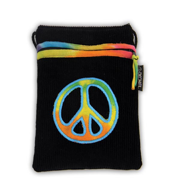 Passsport purse in black corduroy with tie dyed peace sign