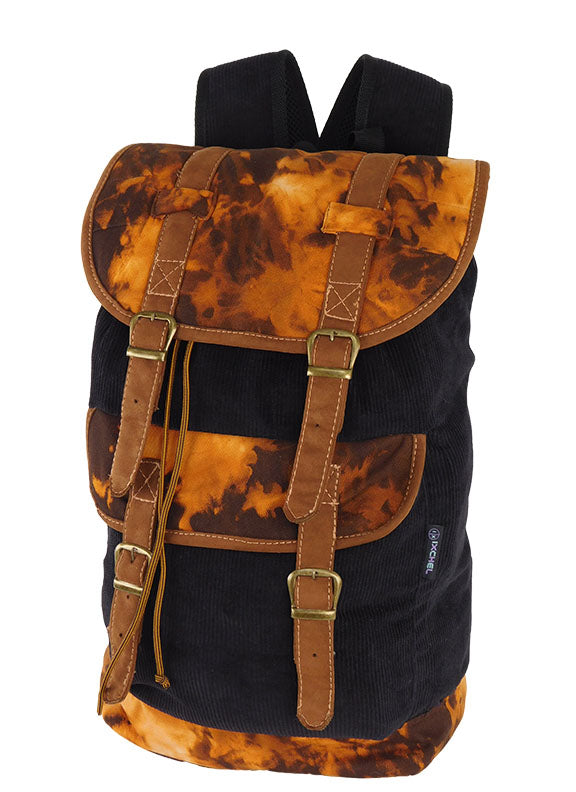 Big Field Bag in Corduroy with Tie Dye & Leather trim
