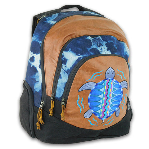 Super Day Pack in tie dyed denim with Terrapin embroidery