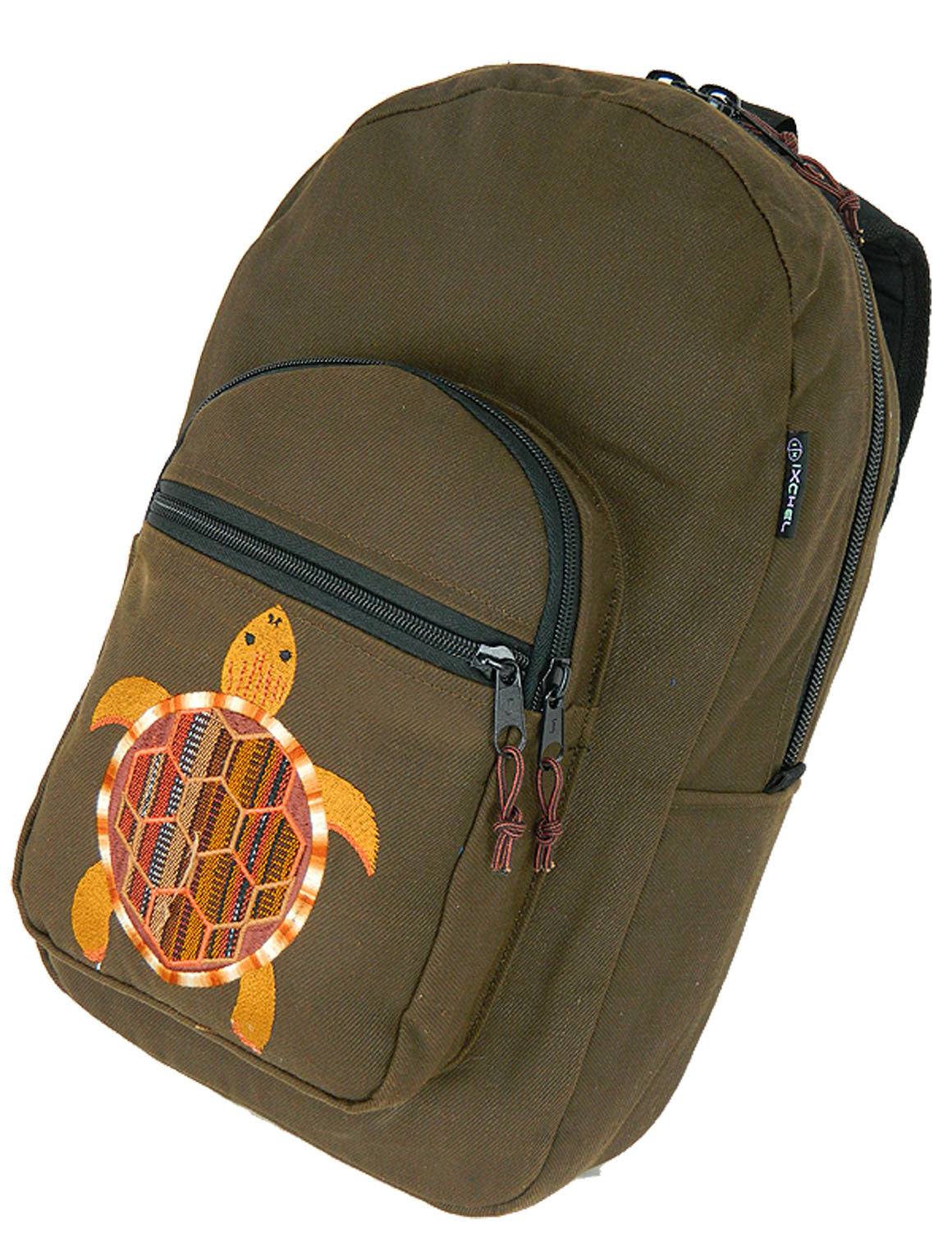 Denim Backpack with Ikat Terrapin Embroidery (Medium)