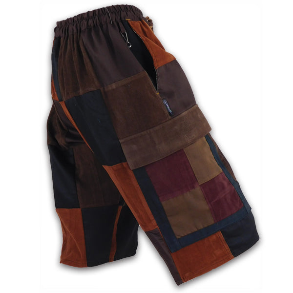 Classic Corduroy Cargo Patchwork Shorts