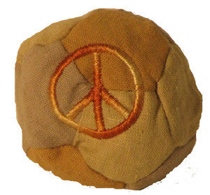 Hemp hackysack with peace sign embroidery