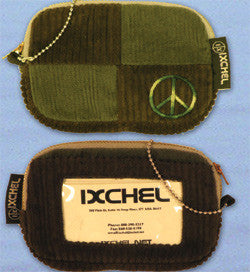 Patchwork Corduroy I.D. Wallet with Peace Sign Embroidery