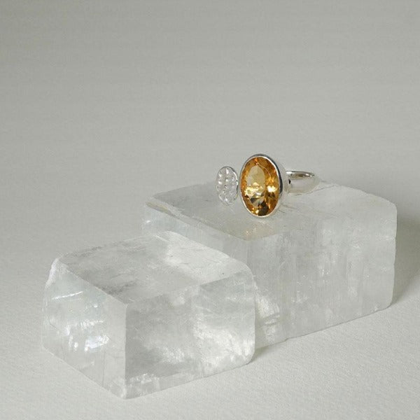 Lotus Pod Ring with Citrine