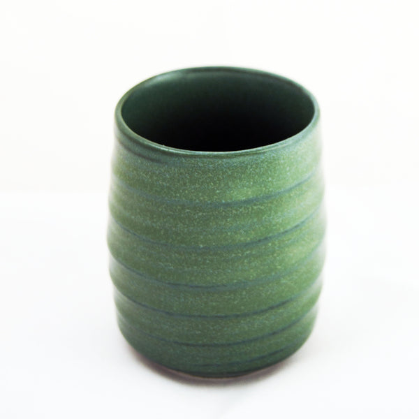 Green Ceramic Ridged Teacup