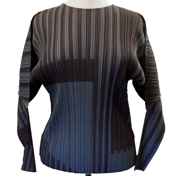PLEATED GEO STRIPE TOP
