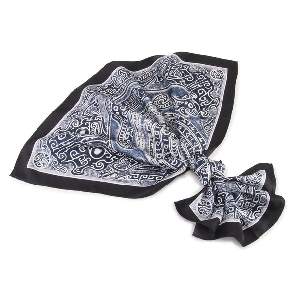 Scarf Bronze Dragon Relief Pattern - Black