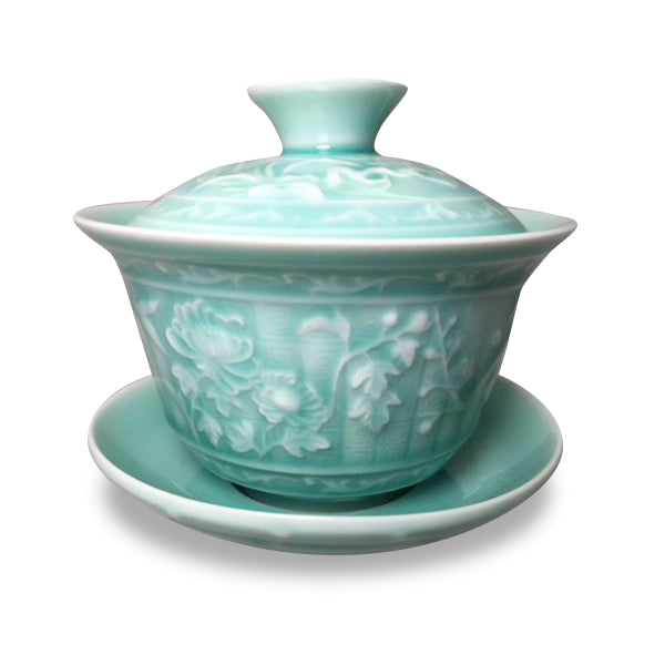 Gaiwan with Bamboo and Flower Motif