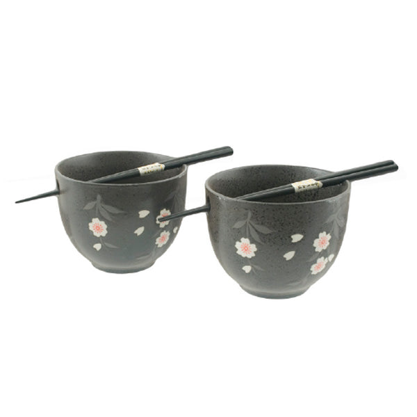Sakura Bowl with Chopsticks Black