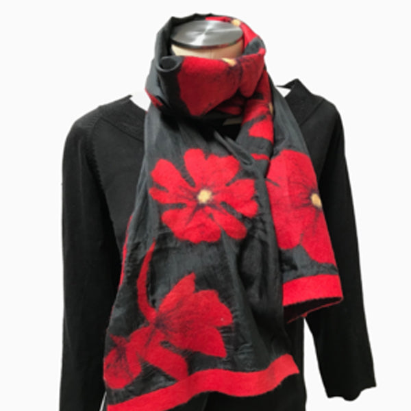 Kyrgyz Shawl Scarf Red Poppies Black