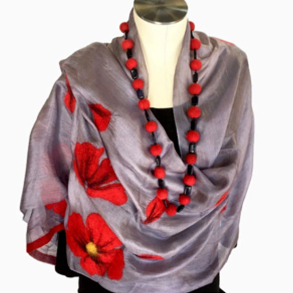 Kyrgyz Shawl Scarf Red Poppies Gray