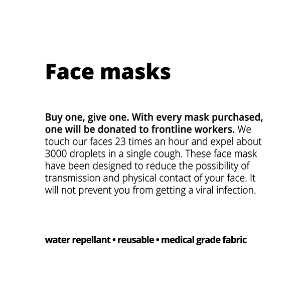 Buy One Give One: Medical Grade Fabric Washable Water Repellant Face Mask