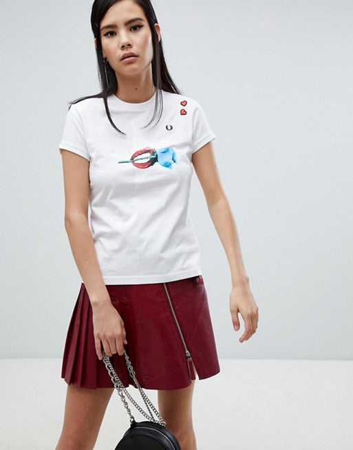 d208ba81 Fred Perry x Amy Winehouse Foundation Rose Lips White T-shirt. Fred Perry x Amy  Winehouse Foundation Rose Lips White T-shirt