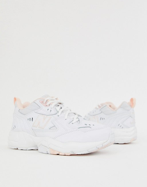 New Balance 608 white and pink chunky trainers
