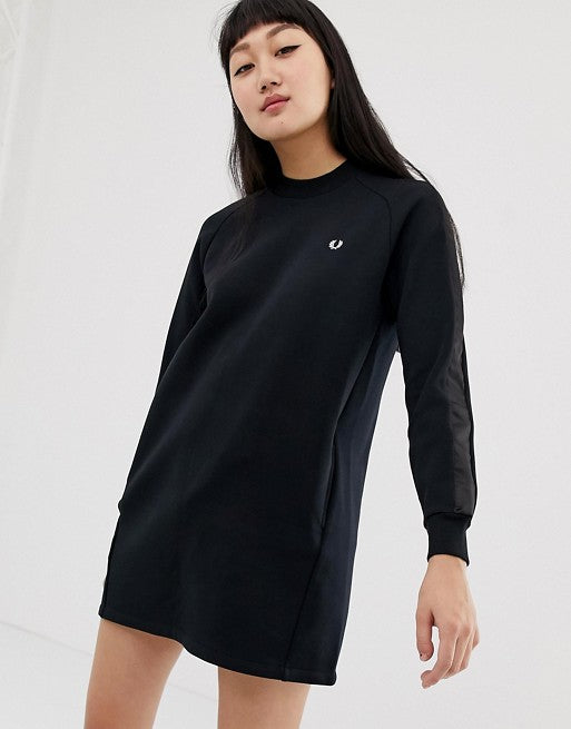 3aaf241e7295 Fred Perry high neck sweatshirt dress with satin tape sleeve – The ...