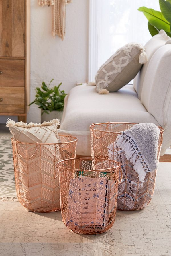 Chevron Rose Gold Metal Basket