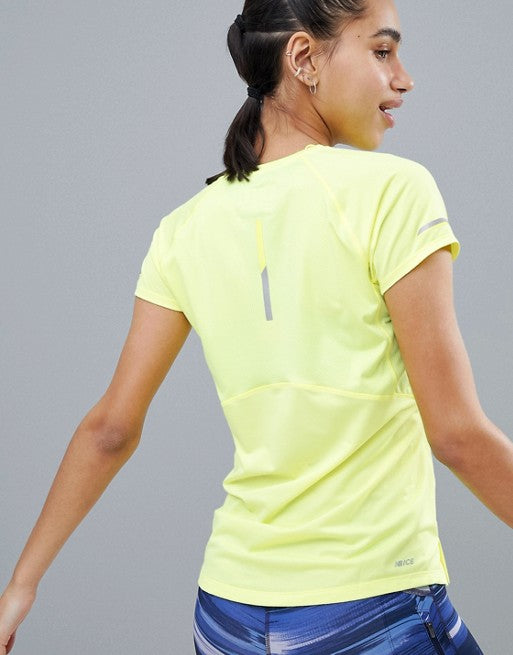 New Balance Running Ice Short Sleeve Tee In Lime