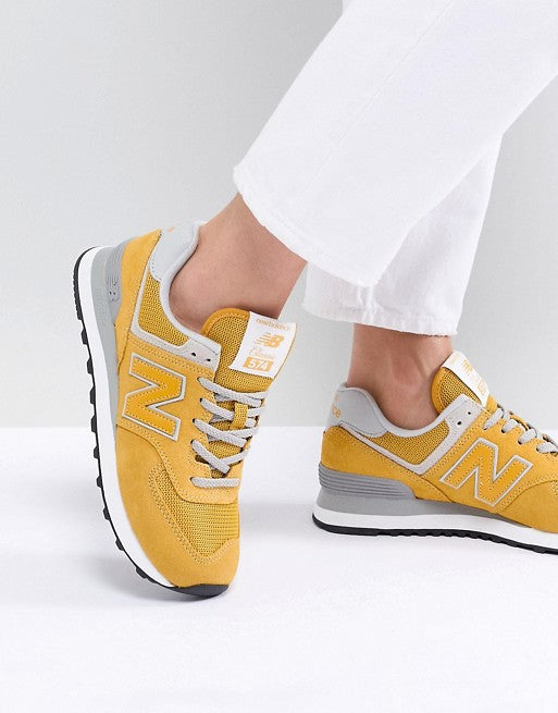 New Balance 574 Suede Trainers In Yellow