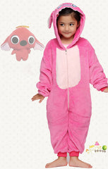 angel pink stitch kigurumi kids pajama