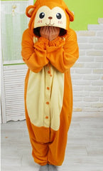 monkey kigurumi pajama onesie orange fleece
