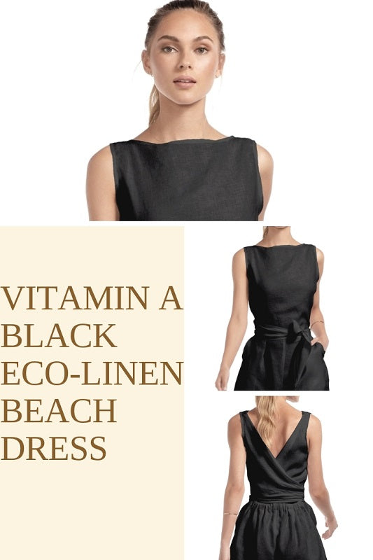 Vitamin A Black Eco-Linen Beach Dress