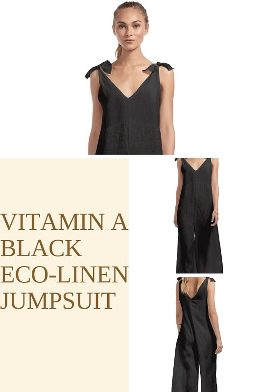 Vitamin A Black Eco-Linen Jumpsuit