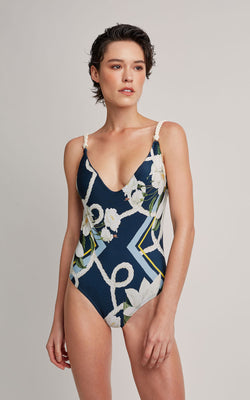 LENNY NIEMEYER NAVY BASIC V ROPE ONE PIECE SWIMSUIT