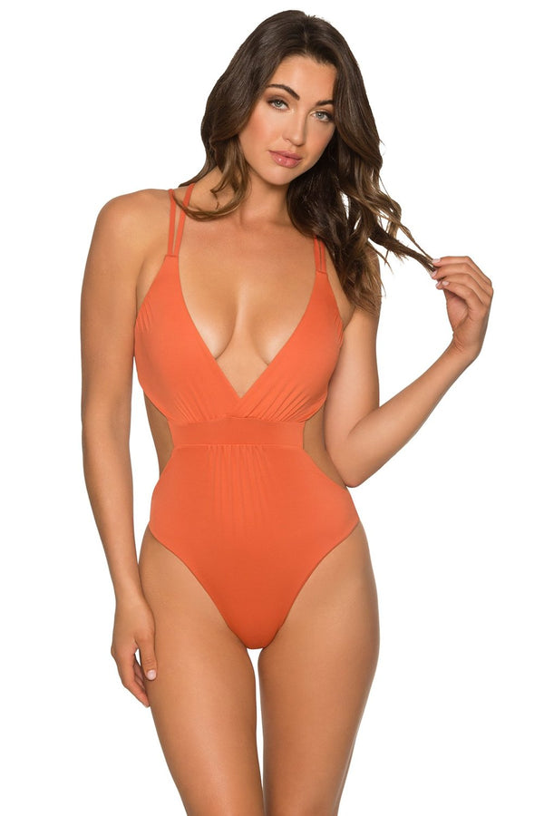 Aerin Rose Orange Laterite Aurora One Piece