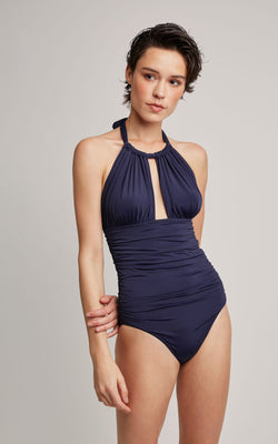LENNY NIEMEYER NORTH SHANGAI RUCHED HALTER ONE PIECE SWIMSUIT